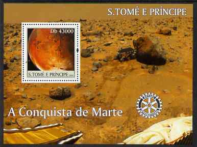 St Thomas & Prince Islands 2004 Conquest of Mars perf s/sheet containing 1 value with Rotary Logo unmounted mint  Mi BL 517