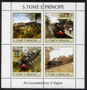 St Thomas & Prince Islands 2004 Steam Locomotives perf sheetlet containing 4 values unmounted mint, Mi 2629-32