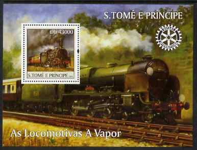 St Thomas & Prince Islands 2004 Steam Locomotives perf s/sheet containing 1 value with Rotary Logo unmounted mint  Mi BL 514