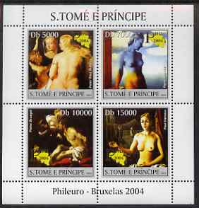 St Thomas & Prince Islands 2004 Nude Paintings (Phileuro) perf sheetlet containing 4 values unmounted mint, Mi 2687-90