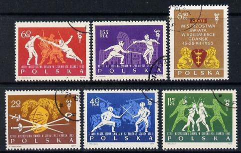 Poland 1963 Fencing World Championships set of 6 cto used, SG 1392-97