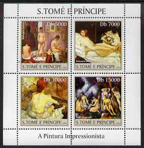 St Thomas & Prince Islands 2004 Impressionist Nude Paintings perf sheetlet #1 containing 4 values unmounted mint, Mi 2691-94