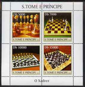 St Thomas & Prince Islands 2004 Chess perf sheetlet containing 4 values unmounted mint, Mi 2634-37