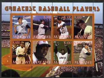 Malawi 2007 Greatest Baseball Players perf sheetlet containing 8 values unmounted mint