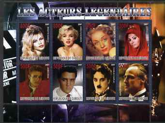 Djibouti 2007 Legendary Actors perf sheetlet containing 8 values unmounted mint (Bardot, Marilyn, M Dietrich, S Loren, James dean, Elvis, Chaplin & M Brando)