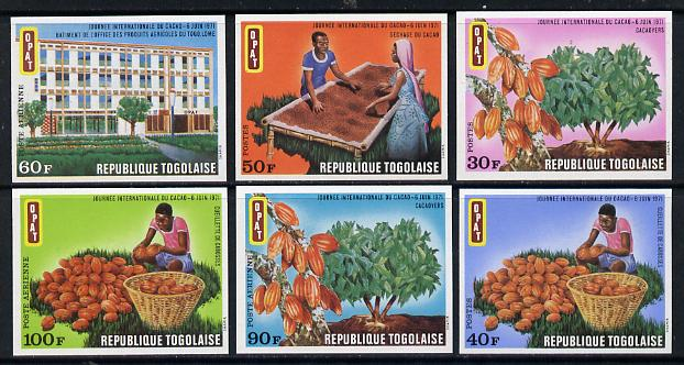 Togo 1971 Int Cocoa Day imperf set of 6 from limited printing unmounted mint as SG 811-16*, stamps on food    drink