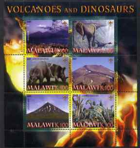 Malawi 2007 Volcanoes & Dinosaurs #1 perf sheetlet containing 6 values each with Scout Logo unmounted mint