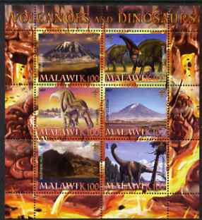 Malawi 2007 Volcanoes & Dinosaurs #2 perf sheetlet containing 6 values each with Scout Logo unmounted mint