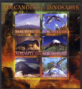 Malawi 2007 Volcanoes & Dinosaurs #3 perf sheetlet containing 6 values each with Scout Logo unmounted mint