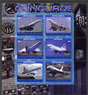 Congo 2007 Concorde perf sheetlet containing 6 values unmounted mint