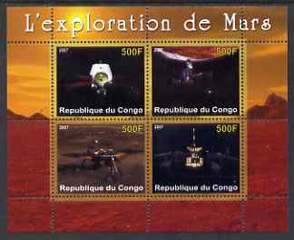 Congo 2007 Conquest of Mars perf sheetlet containing 4 values unmounted mint