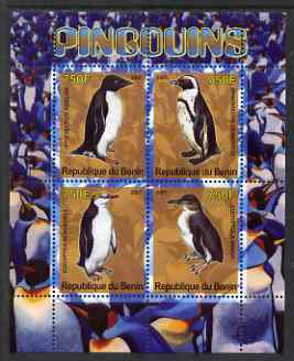 Benin 2007 Penguins perf sheetlet containing 4 values unmounted mint