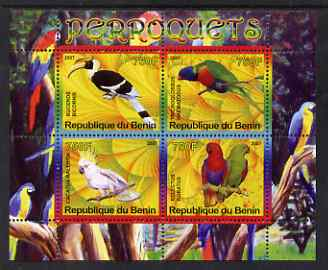 Benin 2007 Parrots perf sheetlet containing 4 values unmounted mint