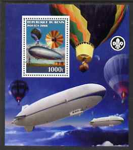 Benin 2008 Airships & Balloons perf s/sheet containing 1 value (with Scout Logo) unmounted mint