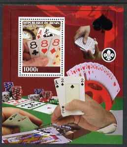 Benin 2008 Playing Cards & Gambling perf s/sheet containing 1 value (with Scout Logo) unmounted mint, stamps on scouts, stamps on playing cards, stamps on clocks