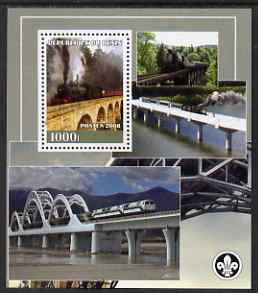 Benin 2008 Railways & Bridges perf s/sheet containing 1 value (with Scout Logo) unmounted mint