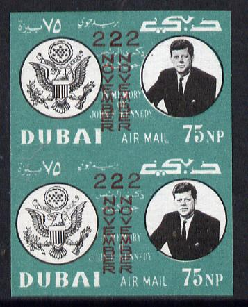 Dubai 1964 Kennedy Death Anniversary (22 Nov) 75np unmounted mint imperf pair with overprint doubled (as SG 133)*