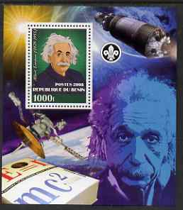 Benin 2008 Albert Einstein perf s/sheet containing 1 value (with Scout Logo) unmounted mint