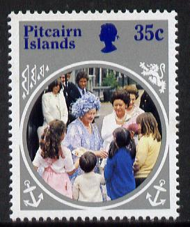 Pitcairn Islands 1985 Life & Times of HM Queen Mother 35c with wmk inverted unmounted mint SG 269w (gutter pairs price x2)