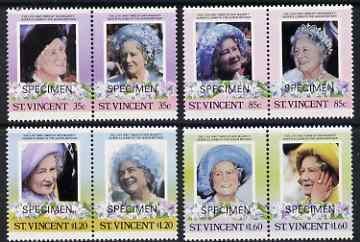 St Vincent 1985 Life & Times of HM Queen Mother set of 8 (4 se-tenant pairs) each overprinted SPECIMEN unmounted mint SG 910-17s