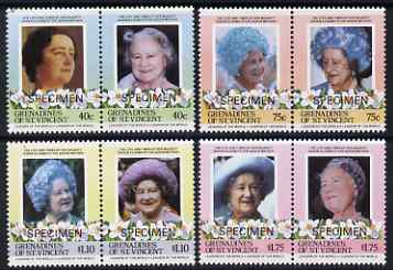 St Vincent - Grenadines 1985 Life & Times of HM Queen Mother set of 8 (4 se-tenant pairs) each overprinted SPECIMEN unmounted mint SG 403-10s