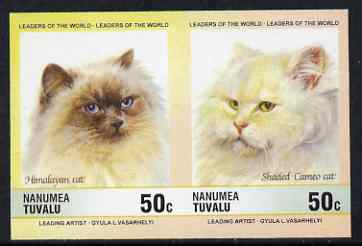 Tuvalu - Nanumea 1985 Cats 50c Himalayan & Shaded Cameo (Leaders of the World) imperf se-tenant pair unmounted mint