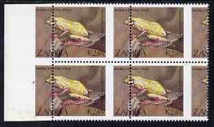 Zambia 1989 Reed Frog 2k85 marginal block of 4 from left of the sheet with superb 10mm misplacement of perforations, (misplaced design in margin) unmounted mint SG 569var