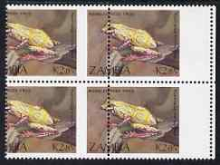 Zambia 1989 Reed Frog 2k85 marginal block of 4 from right of the sheet with superb 10mm misplacement of perforations, (part of stamp blank) unmounted mint SG 569var