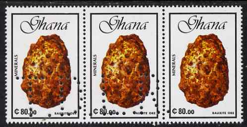 Ghana 1991 minerals 80c Bauxite Ore strip of 3 with part perfin 'T.D.L.R. SPECIMEN' (Note: blocks of 6 would be required to show the full perfin legend) unmounted mint ex De La Rue archive sheet