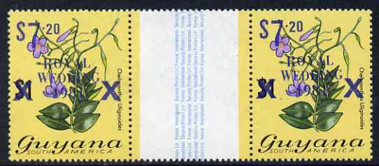 Guyana 1981 Royal Wedding (1st issue) $7.20 on $1 Flowering Plant (surch in blue) interpaneau gutter pair unmounted mint, SG 770d