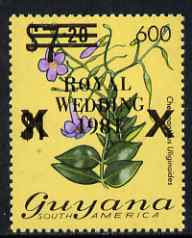 Guyana 1984 Surcharged 600c on $7.20 (black surch) on Royal Wedding overprint unmounted mint, SG 1351b