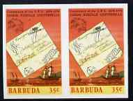 Barbuda 1974 Ship Letter of 1833 35c Imperf pair (from UPU set) unmounted mint as SG 177