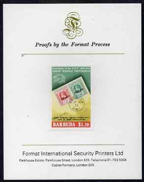 Barbuda 1974 Stamps of 1922 $1.20 imperf proof mounted on Format International proof card as SG 178