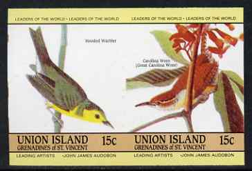 St Vincent - Union Island 1985 John Audubon Birds 15c Hooded Warbler & Carolina Wren imperf se-tenant pair unmounted mint