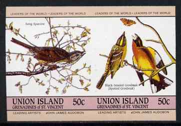 St Vincent - Union Island 1985 John Audubon Birds 50c Sparrow & Grosbeak imperf se-tenant pair unmounted mint