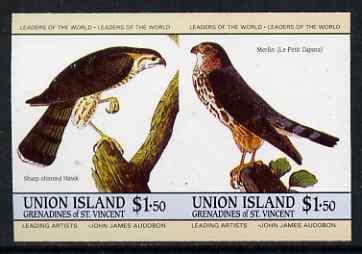 St Vincent - Union Island 1985 John Audubon Birds $1.50 Hawk & Merlin imperf se-tenant pair unmounted mint