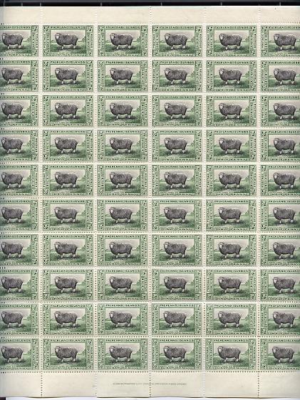 Falkland Islands 1933 Centenary 1/2d Romney Marsh Ram complete folded sheet of 60 unmounted mint but some split perfs SG 127