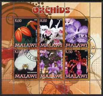 Malawi 2008 Orchids perf sheetlet containing 6 values fine cto used