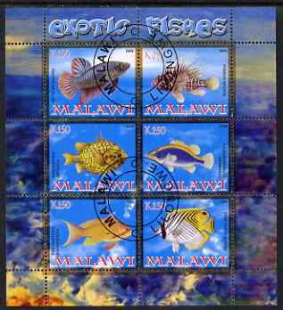Malawi 2008 Exotic Fish perf sheetlet containing 6 values fine cto used