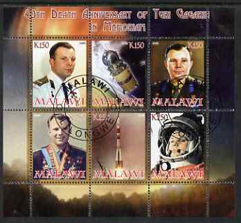 Malawi 2008 40th Death Anniversary of Yuri Gagarin perf sheetlet containing 6 values fine cto used