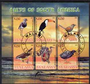 Malawi 2008 Birds of South America perf sheetlet containing 6 values fine cto used