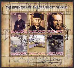 Malawi 2008 Transport Inventors #1 perf sheetlet containing 6 values fine cto used