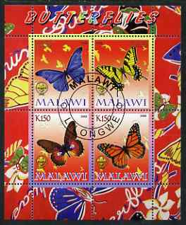 Malawi 2008 Butterflies perf sheetlet containing 4 values, each with Scout logo fine cto used