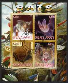 Malawi 2008 Bats perf sheetlet containing 4 values fine cto used