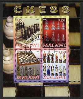 Malawi 2008 Chess perf sheetlet containing 4 values fine cto used