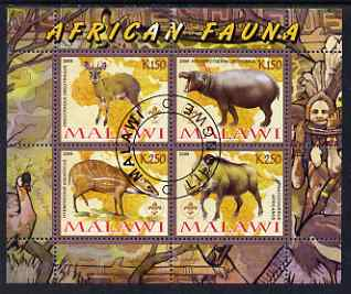 Malawi 2008 African Fauna perf sheetlet containing 4 values, each with Scout logo fine cto used