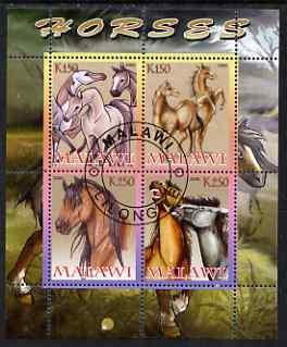Malawi 2008 Horses perf sheetlet containing 4 values fine cto used