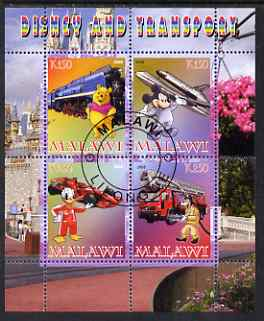Malawi 2008 Disney & Transport perf sheetlet containing 4 values fine cto used