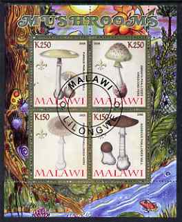Malawi 2008 Fungi #1 perf sheetlet containing 4 values, each with Scout logo fine cto used