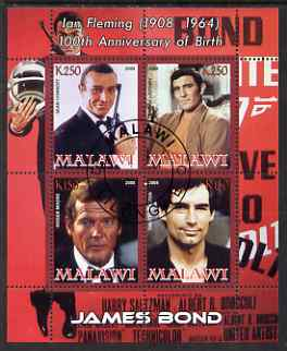 Malawi 2008 Ian Fleming 100th Birth Anniversary (James Bond) #1 perf sheetlet containing 4 values fine cto used